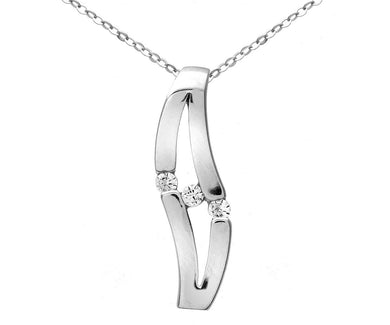 9ct White Gold Triology Cubic Zirconia Double Wave Pendant and Chain of 46cm