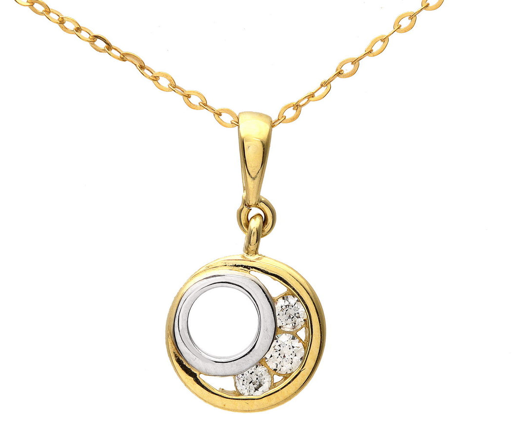 9ct Yellow and White Gold Cubic Zirconia Circle Pendant and Chain of 46cm
