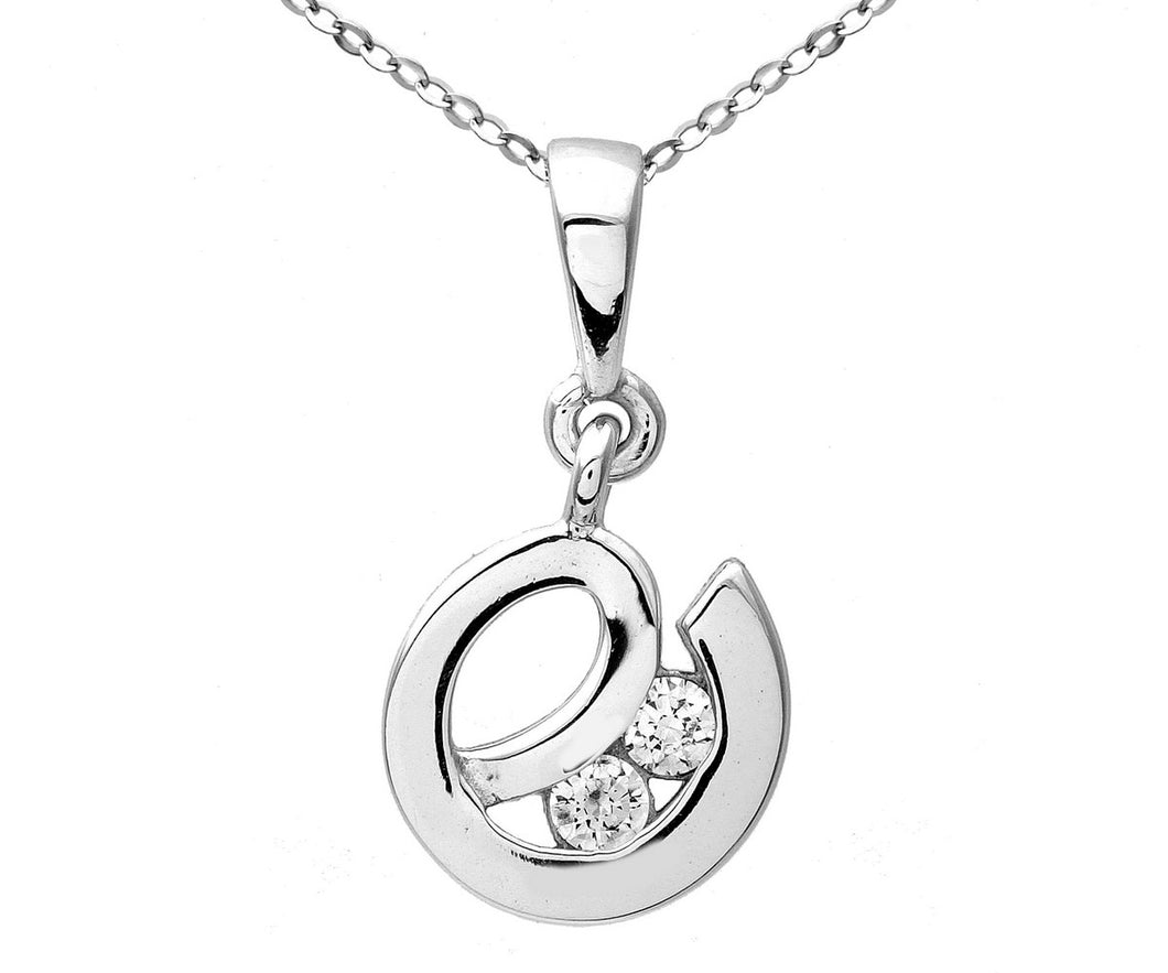 9ct White Gold Cubic Zirconia 'e' Pendant and Chain of 46cm