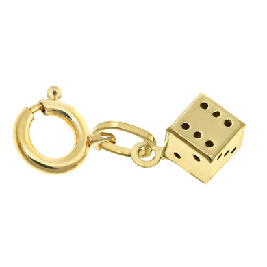 9ct White Gold Ladies Dice Charm Pendant + 8 mm Bolt Ring