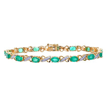 Load image into Gallery viewer, 9ct Yellow Gold Diamond and Emerald Ladies Bracelet