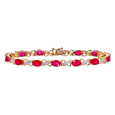 9ct Yellow Gold Diamond and Ruby Ladies Bracelet
