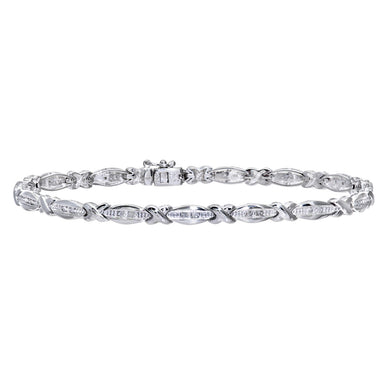 9ct White Gold 0.15ct Diamond Kiss And Bar Bracelet