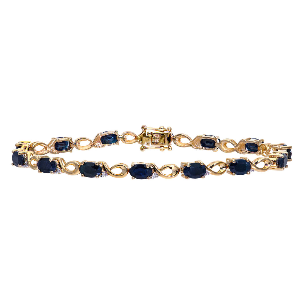 9ct Yellow Gold Diamond and Sapphire Ladies Bracelet