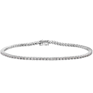 Diamond Tennis Bracelet, 18ct White Gold I/SI Round Brilliant Certified Diamond Bracelet, 1.00ct Diamond Weight