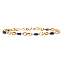 Load image into Gallery viewer, 9ct Yellow Gold Sapphire and Diamond Kiss Bracelet of 18.4cm