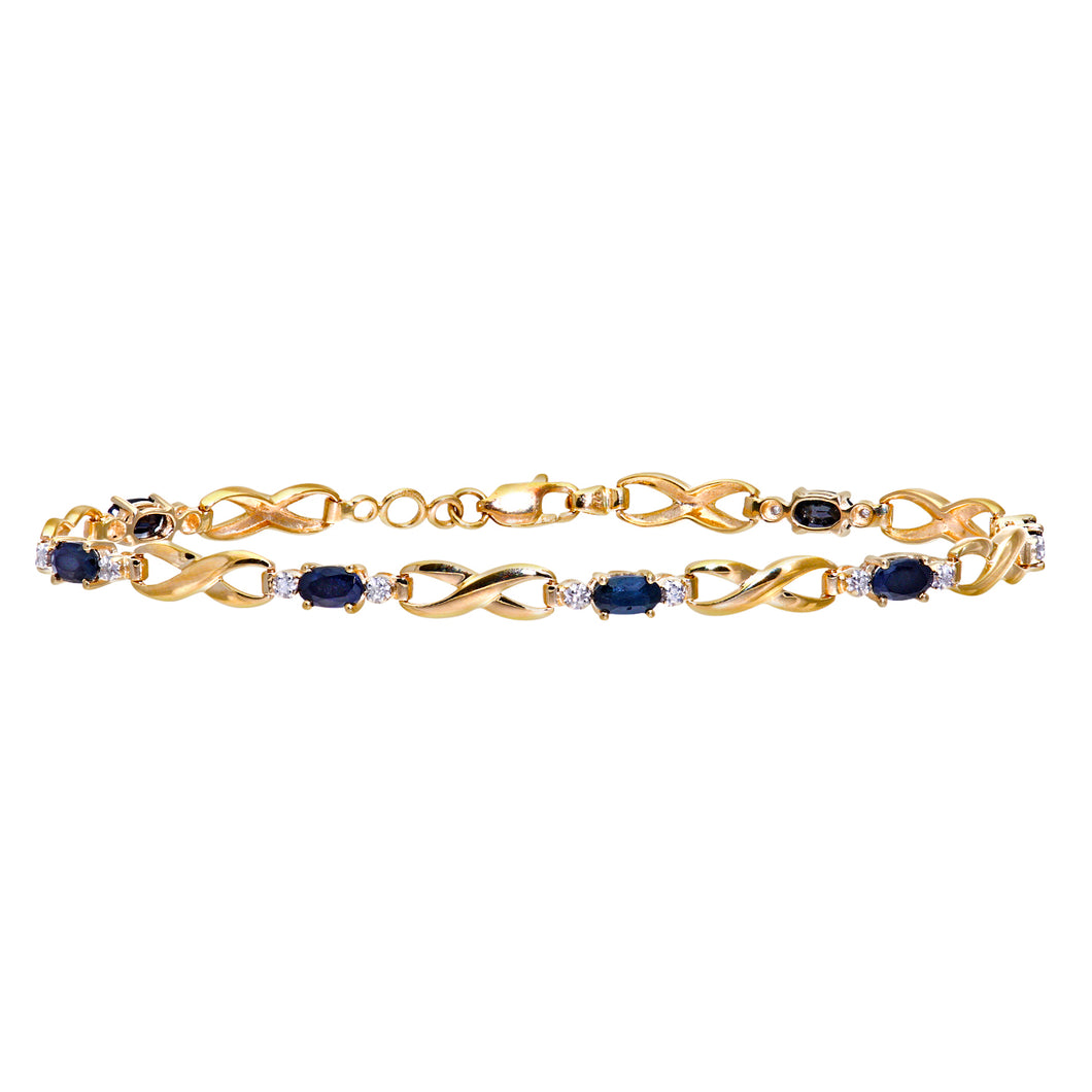 9ct Yellow Gold Sapphire and Diamond Kiss Bracelet of 18.4cm