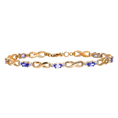 9ct Yellow Gold Tanzanite and Diamond Fig 8 Link Bracelet