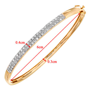 9ct Yellow Gold Half Carat Diamond Pave Set Bangle