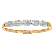 Load image into Gallery viewer, 9ct Yellow Gold Half Carat Diamond Oval Link Pave Set Bangle