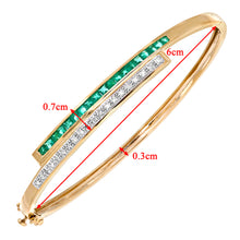 Load image into Gallery viewer, 9ct Yellow Gold 0.10ct Diamond And Emerald Double Row Bangle