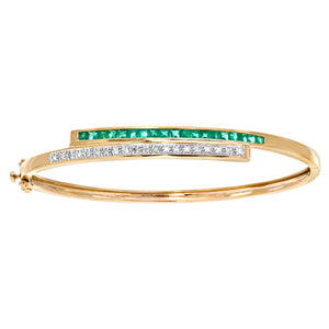 9ct Yellow Gold 0.10ct Diamond And Emerald Double Row Bangle