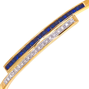 9ct Yellow Gold 0.10ct Diamond And Sapphire Double Row Bangle