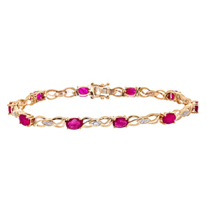 9ct Yellow Gold Ladies Diamond and Ruby Bracelet