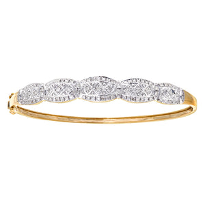 9ct Yellow Gold Diamond Ladies Bangle