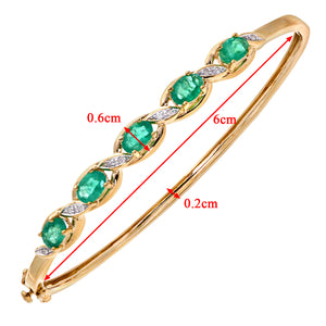 9ct Yellow Gold Diamond and Emerald Ladies Bangle