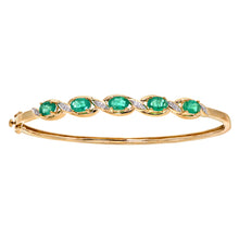 Load image into Gallery viewer, 9ct Yellow Gold Diamond and Emerald Ladies Bangle