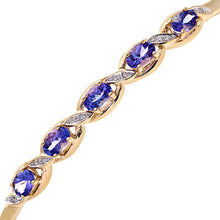 Load image into Gallery viewer, 9ct Yellow Gold Tanzanite and Diamond Fig 8 Style Bangle
