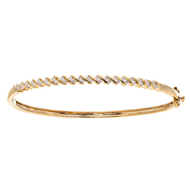 9ct Yellow Gold 0.50ct Diamond Tension Set Twist Bangle