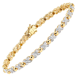 9ct Yellow Gold Diamond Ladies Bracelet