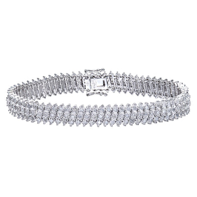 9ct White Gold Diamond 3 Row Ladies Bracelet