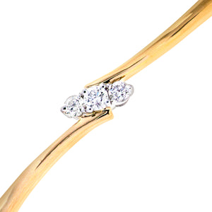 9ct Yellow Gold with 0.25 Carat Diamond 4 Claw Setting Bangle