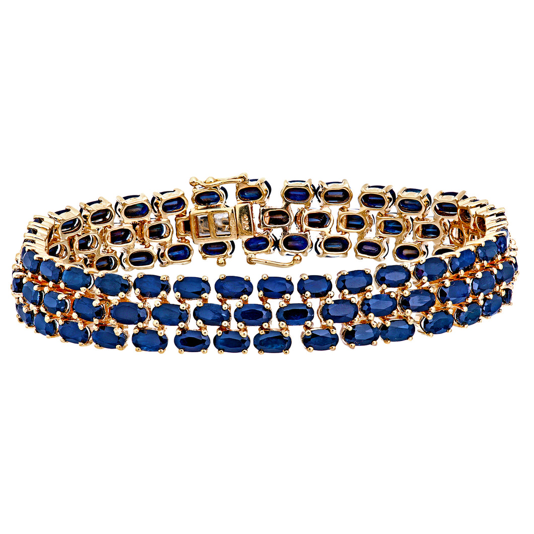 9ct Yellow Gold Ladies Sapphire Bracelet