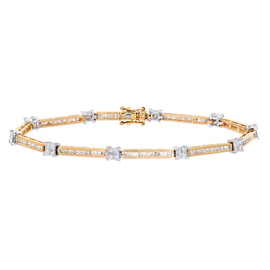 9ct Yellow Gold Ladies Diamond Bracelet