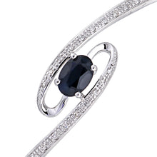 Load image into Gallery viewer, 9ct White Gold 0.10ct Diamond And Sapphire 4 Claw Set Whirlpool Bangle