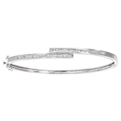 9ct White Gold 1ct Princess Cut Diamond Channel Set Bangle