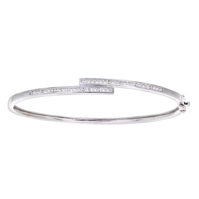 9ct White Gold Half Carat Diamond Channel Set Bangle
