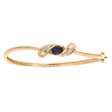 9ct Yellow Gold Diamond And Sapphire Crossover Bangle
