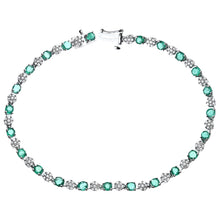 Load image into Gallery viewer, Round Brilliant 9ct White Gold 2.70ct Emerald and Diamonds 0.63ct Tennis Bracelet of 18.1cm