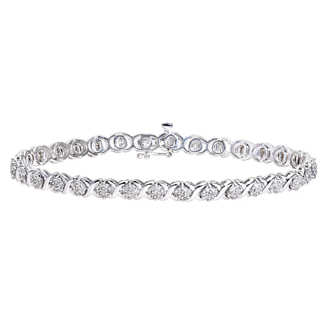 9ct White Gold Diamond Ladies Bracelet