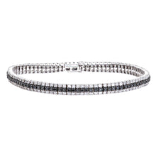 Load image into Gallery viewer, 9ct white Gold Diamond and Black Diamond Ladies Bracelet