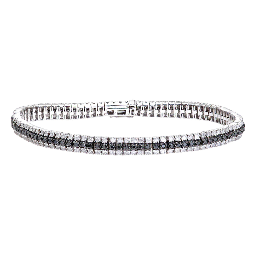 9ct white Gold Diamond and Black Diamond Ladies Bracelet