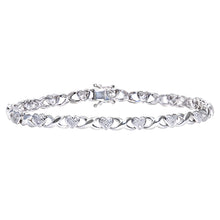 Load image into Gallery viewer, 9ct White Gold 0.25ct Diamond Set Heart and Kiss Link Bracelet