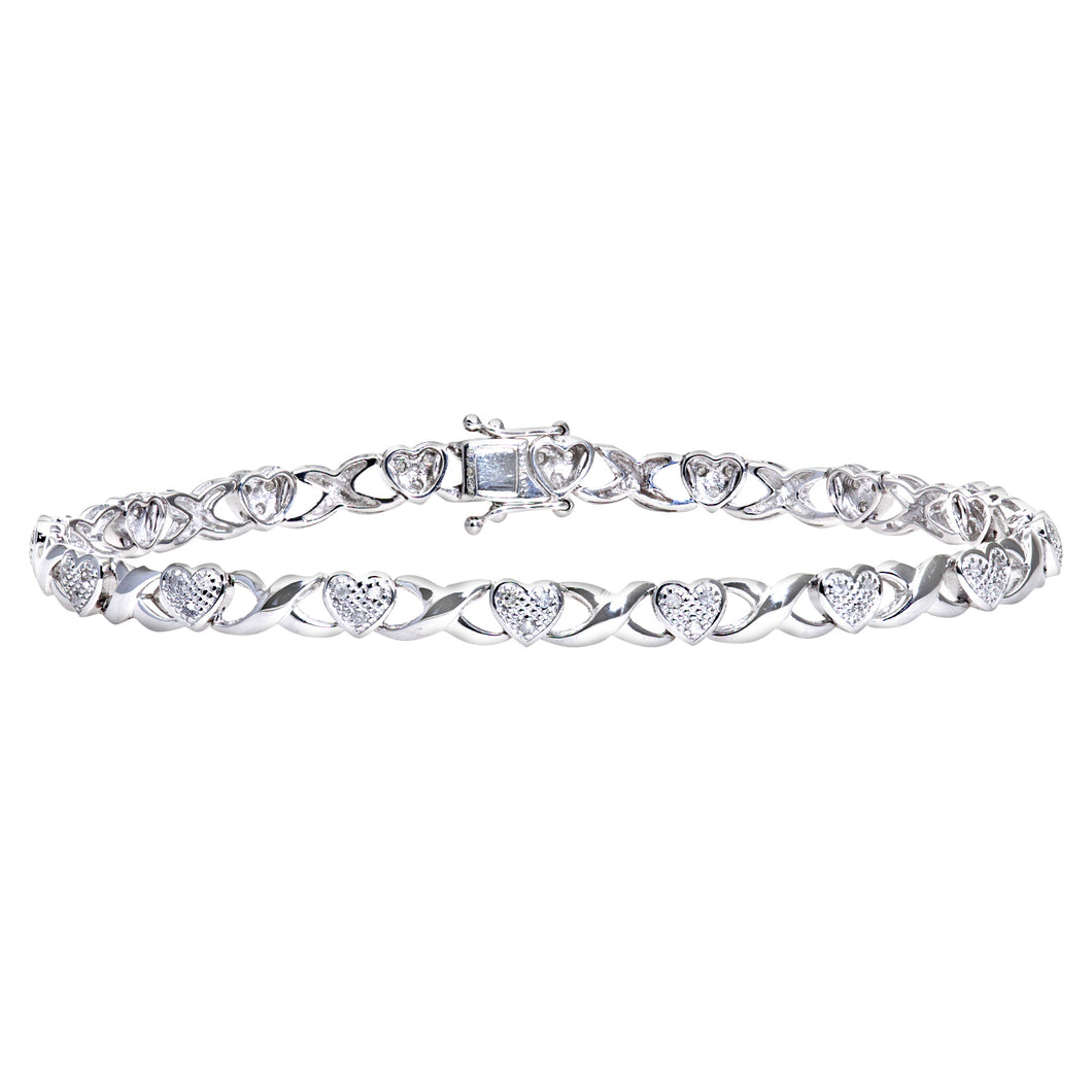 9ct White Gold 0.25ct Diamond Set Heart and Kiss Link Bracelet