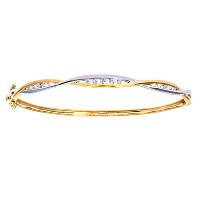 9ct Yellow Gold Third Carat Diamond Double Wave Bangle