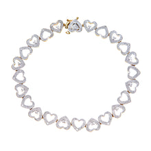 Load image into Gallery viewer, 9ct Yellow Gold Diamond Ladies Heart Bracelet