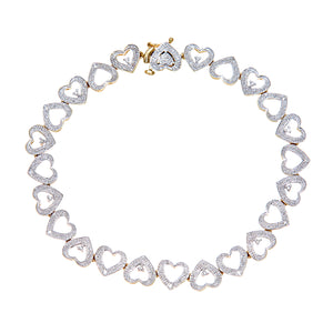 9ct Yellow Gold Diamond Ladies Heart Bracelet