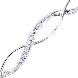 9ct White Gold Diamond Pave Set Wave Bangle