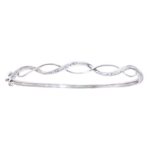 Load image into Gallery viewer, 9ct White Gold Diamond Pave Set Wave Bangle