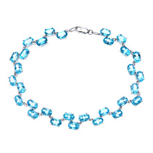 Load image into Gallery viewer, 9ct White Gold Ladies Diamond & Blue Topaz Bracelet