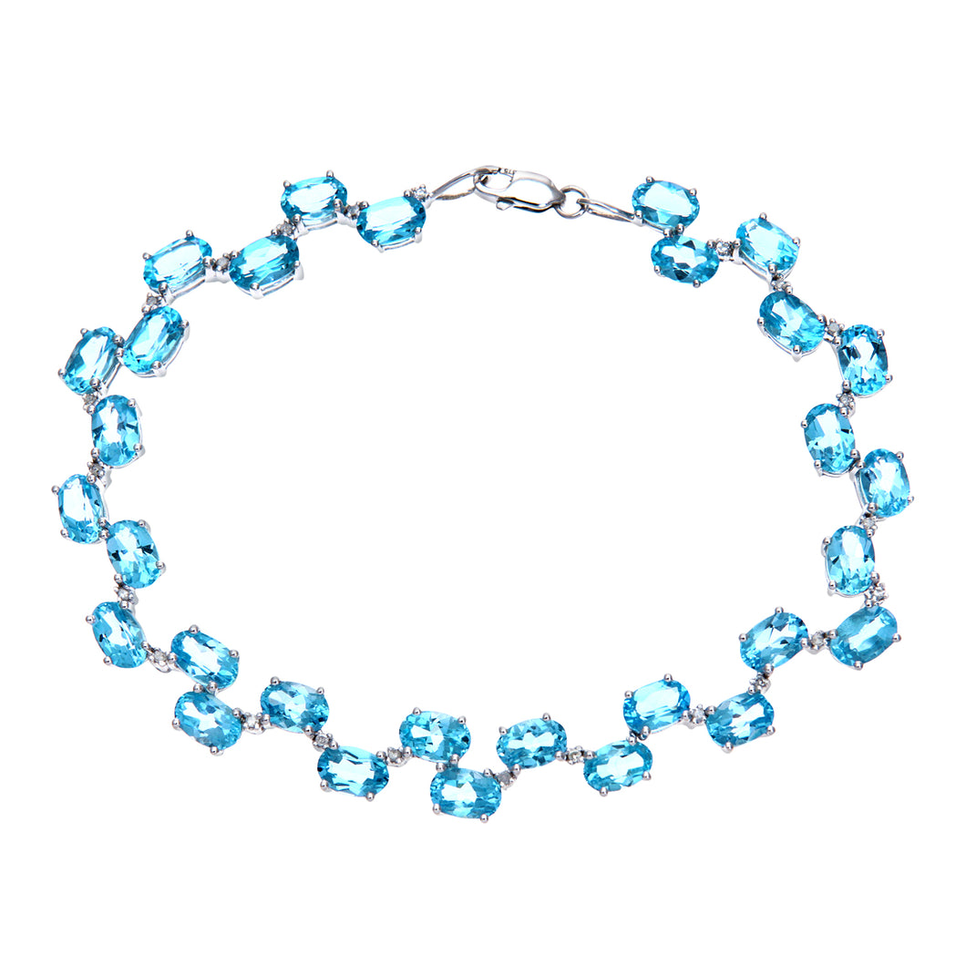 9ct White Gold Ladies Diamond & Blue Topaz Bracelet
