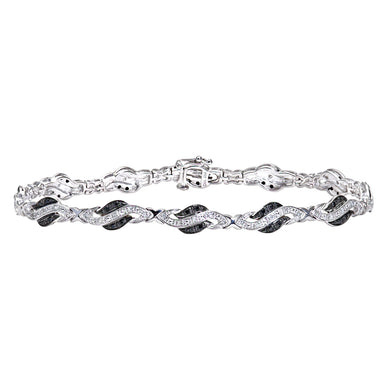 9ct White Gold Black Diamond Crossover Link Bracelet