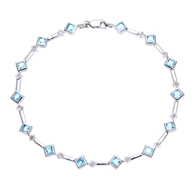 9ct White Gold Blue Topaz and Diamond Square Link Bracelet