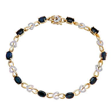 9ct Yellow Gold Sapphire and Diamond Set Heart Link Bracelet