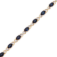 Load image into Gallery viewer, 9ct Yellow Gold Sapphire and Diamond Set Fig 8 Link Bracelet