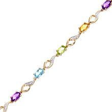 Load image into Gallery viewer, 9ct Yellow Gold Multi Gemstone and Diamond Set Bracelet